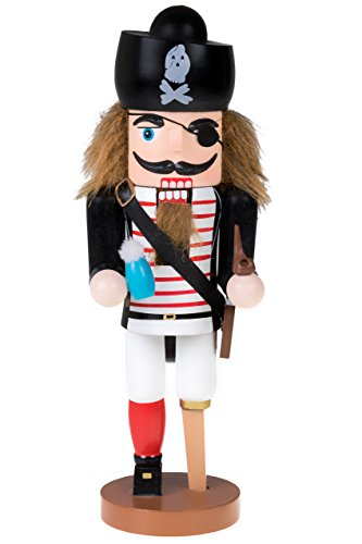 Traditional Wooden Pirate Nutcracker with Peg Leg by Clever Creations   Festive Holiday Décor   10″ Tall Perfect for Shelves and Tables   Ornate Details   Collectible 100% Wood Figurine