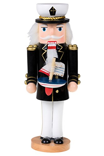 Traditional Wooden Sailor Nutcracker with a Boat by Clever Creations | Festive Christmas Decor | Nautical Theme | 10″ Tall Captain Perfect for Shelves and Tables