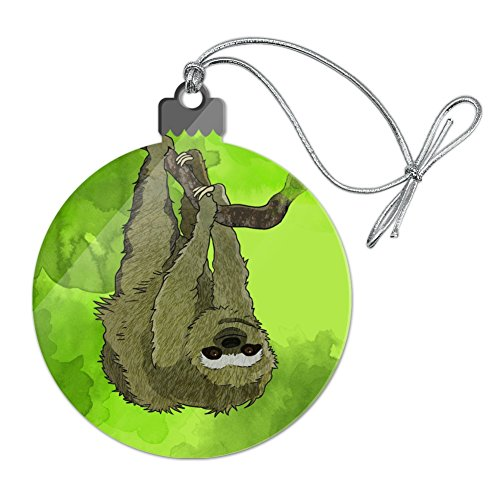 Sloth Watercolor Acrylic Christmas Tree Holiday Ornament