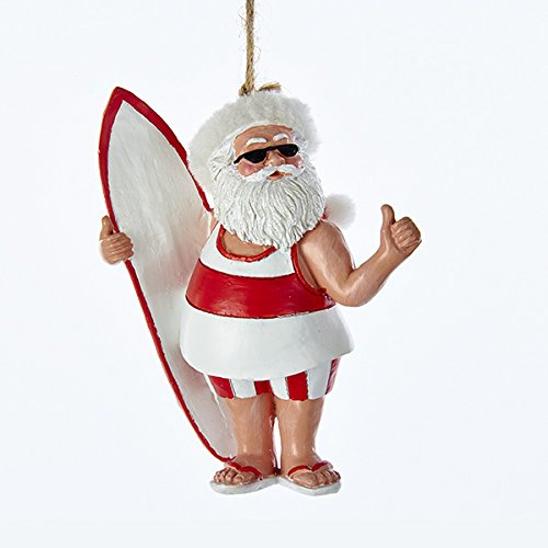 Kurt Adler RED AND WHITE SURFING SANTA BEACH ORNAMENT