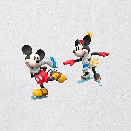 Hallmark Keepsake Christmas Ornaments 2018 Year Dated, Disney Mickey and Minnie Mice on Ice, Set of 2