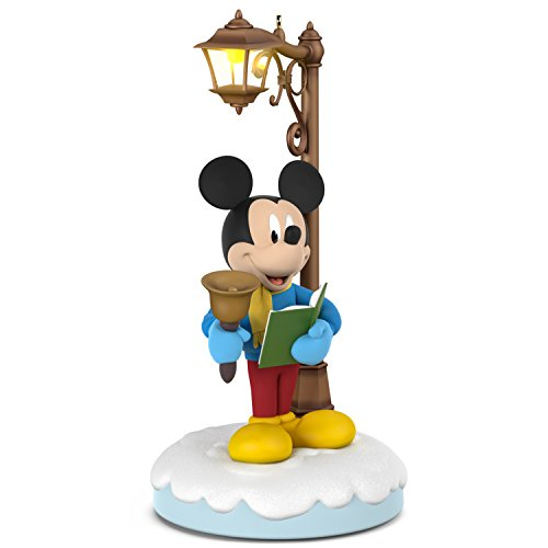 Hallmark Christmas Ornament Keepsake 2018 Year Dated, Disney Carolers Merry Mickey with Music, Light and Motion, Mickey Mouse