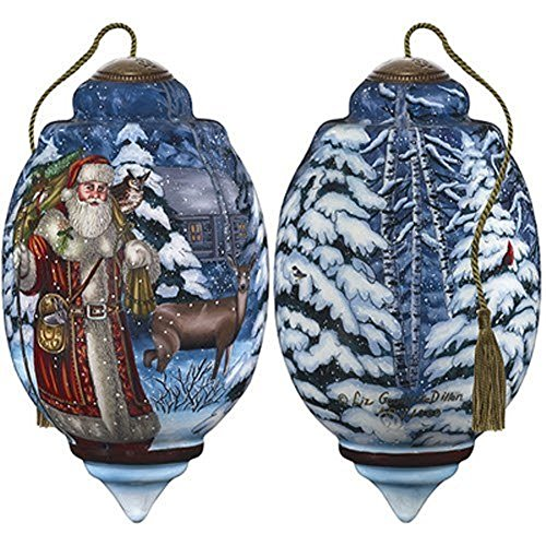 Ne'Qwa Art Hand Painted Blown Glass Standard Santa's Woodland Friends Ornament, Multicolor