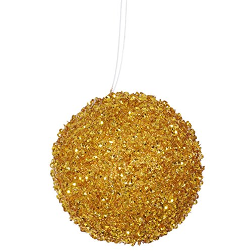 4ct Antique Gold Sequin and Glitter Drenched Christmas Ball Ornaments 4″ (100mm)