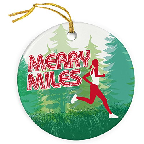 Gone For a Run Running Porcelain Ornaments | Merry Miles Female Christmas Ornament