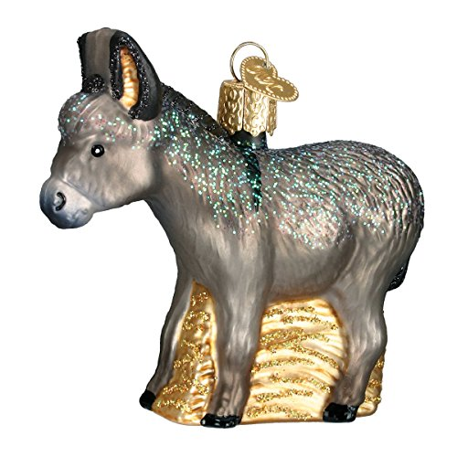 Old World Christmas Glass Blown Ornament with S-Hook and Gift Box, Zoo Animals Collection (Donkey)