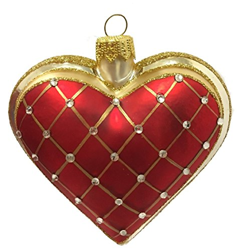 Pinnacle Peak Trading Company Red Heart with Gold Stripes Polish Glass Christmas Tree Ornament Made in Poland