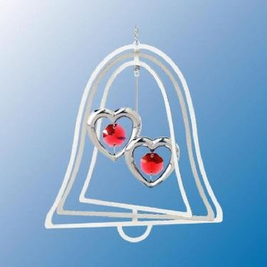 Chrome Plated Twin Hearts Bell Ornament – Red – Swarovski Crystal
