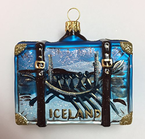 Pinnacle Peak Trading Company Iceland Travel Suitcase Polish Blown Glass Christmas Ornament Tree Decoration
