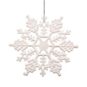 Vickerman Plastic Glitter Snowflake, 6.25-Inch, White, 12 Per Box