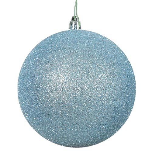 Vickerman 12″ Baby Blue Glitter Ball Drilled Cap