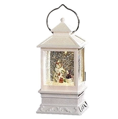 Roman Inc. 8.5″H LED White Lantern with Snowman Winter Scene Glitter Dome Snow Globe