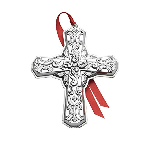 Wallace 2018 Grand Baroque Cross Plated Christmas Holiday Ornament, 23rd Edition, Silver