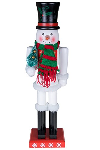 Snowman Nutcracker by Clever Creations | Black Top Hat and Red & Green Scarf with Miniature Christmas Tree | Collectible Wooden Holiday Nutcracker | Festive Holiday Decor | 100% Wood | 15″ Tall