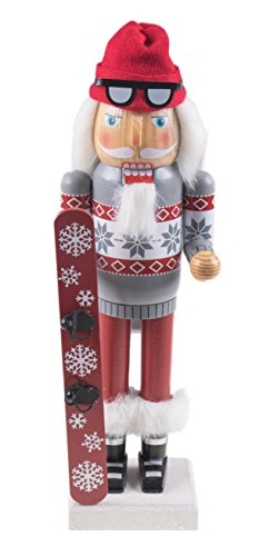 Snowboarding Santa Claus Nutcracker by Clever Creations | Traditional Collectible Wooden Christmas Nutcracker | Festive Holiday Décor | Wearing Boots and Goggles |With Snowboard | 100% Wood | 14″ Tall