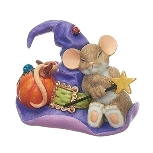 Mouse on Witch Hat 3 Inch Resin Decorative Halloween Tabletop Figurine