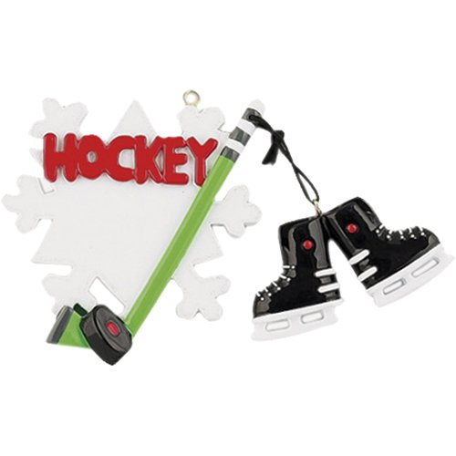 Personalized Ice Hockey Snowflake Christmas Ornament for Tree 2018 – Skates Dangling in White Red Green Stick – Athlete Team Player – Coach Hobby School Profession Winter Sport – Free Customization
