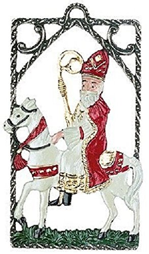 Pinnacle Peak Trading Company St Nicholas on Horse German Pewter Christmas Ornament Decoration Made in Germany