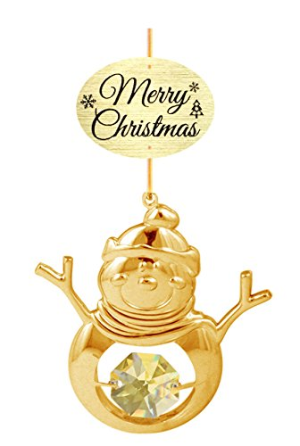 """24K Gold Plated Snowman with Logo """"Merry Christmas"""" Ornament with Green Swarovski Crystal Element"""