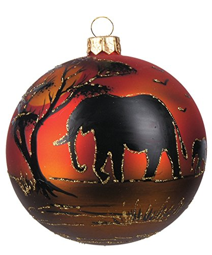 Pinnacle Peak Trading Company Elephant in the Savannah African Silhouette Ball Polish Glass Christmas Ornament