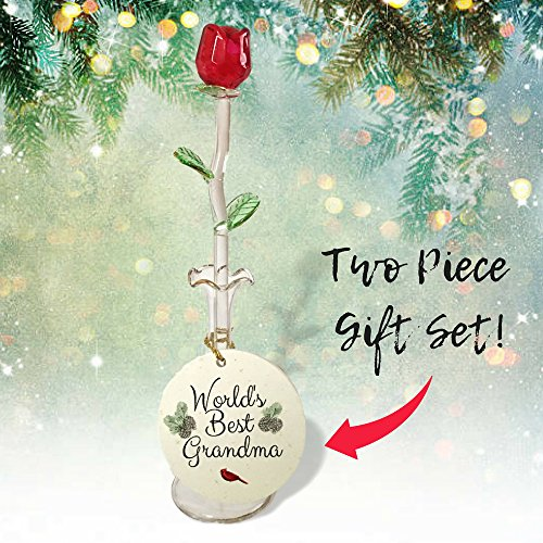 World's Best Grandma – Glass Rose and Keepsake Christmas Ornament Gift Set – Cardinal and Pine Cone Design – Forever Red Rose in Vase