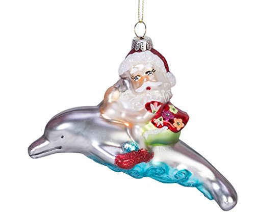 Beachcombers Blown Glass Santa Riding A Dolphin Ornament