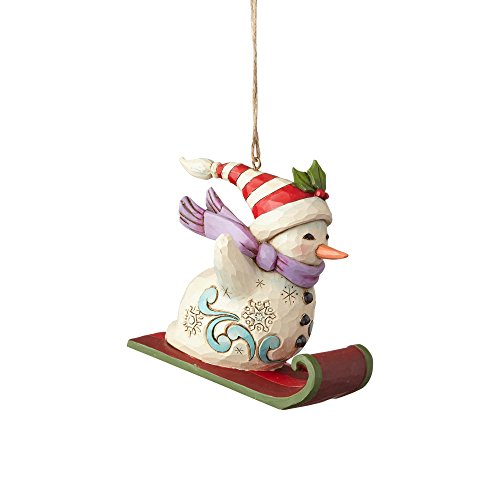 Enesco-Gift Snowman Sledding Ornament, Multicolor