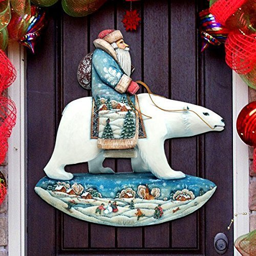 G.DeBrekht Polar Bear Santa Indoor & Outdoor Wooden Hanging Door Decoration, Wall Sign, For Home, School, Office #8116382H