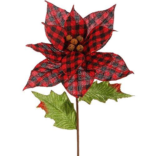 Raz 22″ Red and Black Buffalo Plaid Rusty Bell Poinsettia Christmas Pick F3739205
