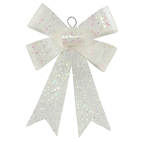 Vickerman Clear Iridescent Sequin and Glitter Bow Christmas Ornament, 7″, Off/White