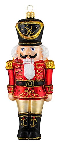 Pinnacle Peak Trading Company Large Red Nutcracker Soldier Polish Glass Christmas Tree Ornament Made in Poland