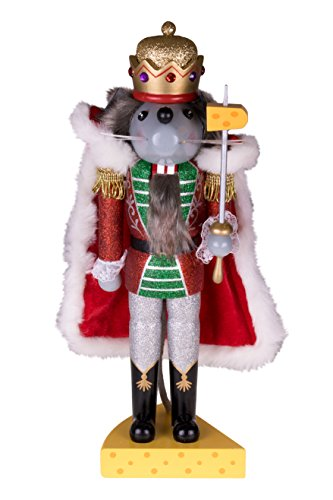 Traditional Wooden Mouse King Nutcracker by Clever Creations | Sword and Cheese Stand | Festive Christmas Decor | 14″ Tall Perfect for Shelves and Tables