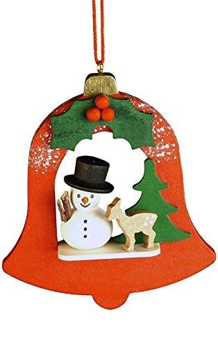 """Alexander Taron Importer 10-0458 – Christian Ulbricht Ornament – Snowman in Red Bell – 3.5″"""" H x 2.75″"""" W x 1″"""" D"""
