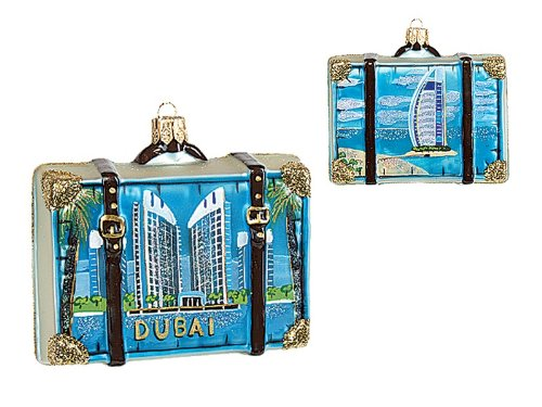 Pinnacle Peak Trading Company Dubai Travel Suitcase Polish Glass Christmas Ornament ONE Tree Decoration UAE