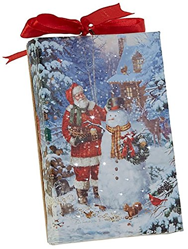 RAZ Imports Santa and Snowman LED Canvas Print/Ornament — Lighted Picture of Santa w/a Snowman — 4″ x 6″ with Timer and On/Off Switch