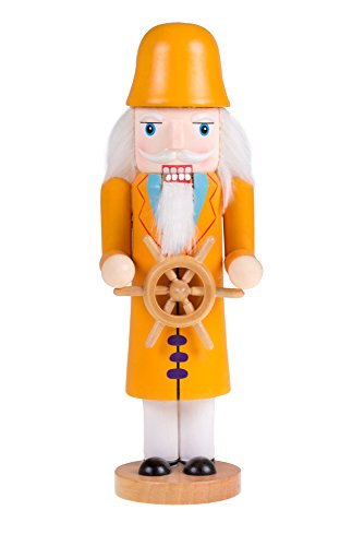 Traditional Wooden Sea Captain Nutcracker with Wheel by Clever Creations | Festive Holiday Décor | 10″ Tall Perfect for Shelves and Tables | Ornate Details | Collectible 100% Wood Figurine
