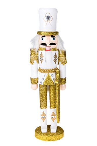 Traditional Christmas Gold Soldier with Sword Nutcracker | Solider Outfit | Festive Christmas Decor | 12″ Tall Perfect for Shelves and Tables