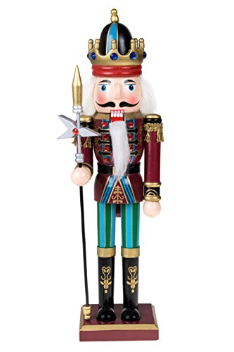 "Traditional King Nutcracker by Clever Creations | Collectible Wooden Christmas Nutcracker | Festive Holiday Decor | Maroon and Blue Embellished Uniform | Holding Tall Scepter | 100% Wood | 12"" Tall"