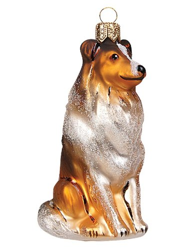 Pinnacle Peak Trading Company Collie Dog Polish Mouth Blown Glass Christmas Ornament Tree Decoration