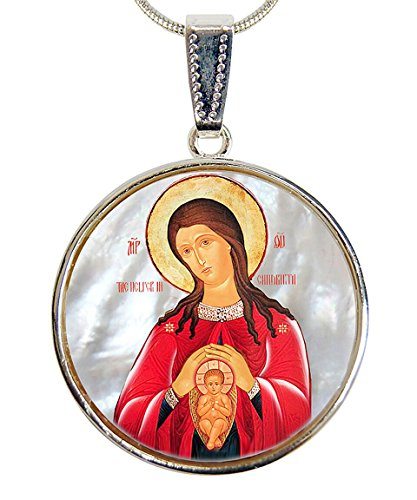 G. Debrekht Blessed Virgin Mary Patron Silver-Plated Mother-of-Pearl Cabochon Round Pendant with Chain Figurine, 18″