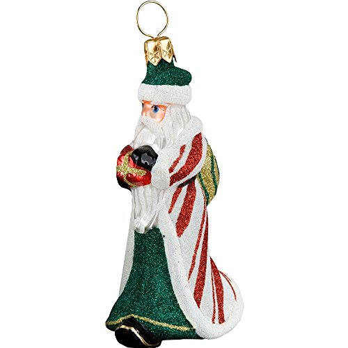 Joy to the World – Glitterazzi Mini Striding Santa Peppermint – Blown Glass Ornament