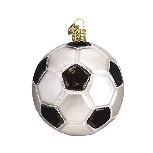 Old World Christmas Glass Blown Ornament with S-Hook and Gift Box, Sports Collection (Soccer Ball)