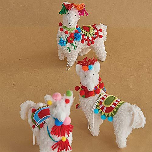 SET OF 3 Raz 7″ Colorful Llama Christmas Ornament 3819042