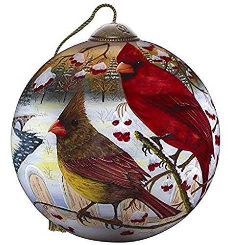 Ne'Qwa Art Hand Painted Blown Glass White Crimson Morning Ornament, Multicolor