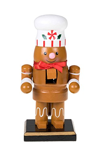 Traditional Christmas Chubby Gingerbread Man Nutcracker by Clever Creations | Wearing White Chef's Hat | 6″ Tall Perfect for Shelves and Tables | 100% Wood