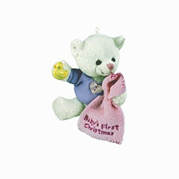 Carlton Heirloom Girl Baby's 1st Christmas Teddy Bear Ornament # CXOR-014R