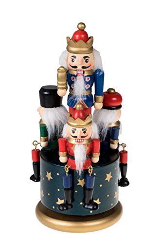 Traditional Wooden Nutcracker Wind Up Music Box | Blue, Red, Gold, and Green Kings and Soldiers | Festive Christmas Decor | 8″ Tall Perfect for Shelves and Tables