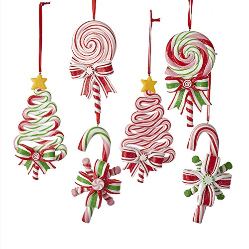 Kurt AdlerPEPPERMINT CANDY LOLLIPOP ORNAMENT – 6 ASSORTED: 2 EACH CHRISTMAS TREE, CANDY CANE AND ROUND LOLLIPOP