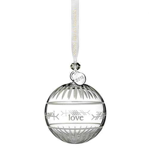 Waterford Crystal 2018 Ogham Love Ball Ornament 3.7″