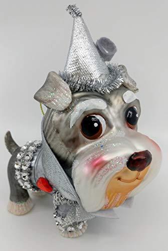 One Hundred 80 Degrees 5.5″ Wizard of Oz Glass Dog Christmas Ornaments – Choose: Dorothy (Lhasa Apso/Maltese), Tin Man (Schnauzer), Scarecrow (Shih Tzu) & Lion (Bulldog) (Tin Man (Schnauzer))